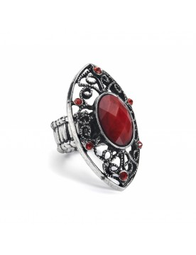 Vintage Ring, silber rot