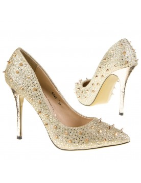 Nieten Pumps, gold