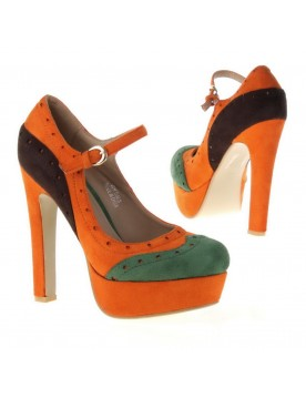Plateau Pumps, orange grün braun