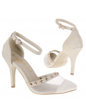 Nieten Pumps transparent, creme