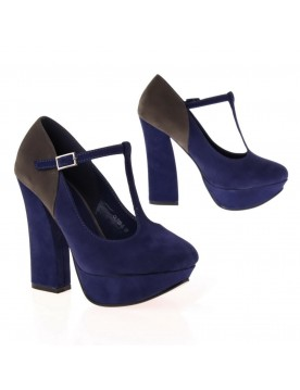 Mary Jane Pumps, blau grau
